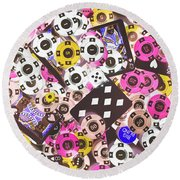 In Casino Colors Round Beach Towel