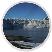 In Front Of A Glacier On Svalbard Round Beach Towel