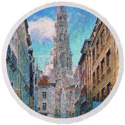 Round Beach Towel featuring the photograph In-spired  Street Scene Brussels by Leigh Kemp
