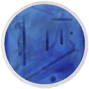 In The Blue Mist Round Beach Towel
