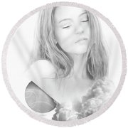 In The Clouds No. 1 Round Beach Towel