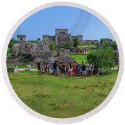 In The Footsteps Of The Maya Round Beach Towel