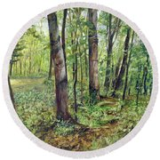 In The Shaded Forest  Round Beach Towel