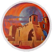 In The Shadow Of St. Francis Round Beach Towel