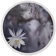In The Shadows-night Blooming Cereus Round Beach Towel