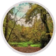 Round Beach Towel featuring the photograph In The Woods by Leigh Kemp