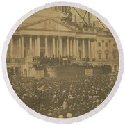Inauguration Of Abraham Lincoln, March 4, 1861 Round Beach Towel