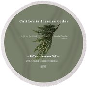 Incense Cedar - White Text Round Beach Towel