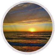 Round Beach Towel featuring the photograph Incredible Sunrise Over The Atlantic Ocean by Lynn Bauer