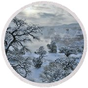 Independence Canyon At Sunrise In Colorado National Monument Round Beach Towel