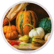 Indian Corn, Pumpkins And Gourds Round Beach Towel