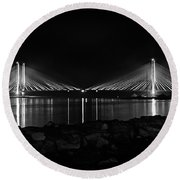 Indian River Bridge After Dark In Black And White Round Beach Towel
