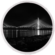 Round Beach Towel featuring the photograph Indian River Bridge After Dark In Black And White by Bill Swartwout Fine Art Photography