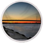 Round Beach Towel featuring the photograph Indian River Bridge Over Swan Lake by Bill Swartwout Fine Art Photography