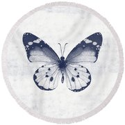 Indigo And White Butterfly 1- Art By Linda Woods Round Beach Towel