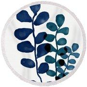 Indigo Eucalyptus 1- Art By Linda Woods Round Beach Towel