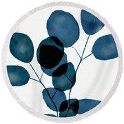 Indigo Eucalyptus 3- Art By Linda Woods Round Beach Towel