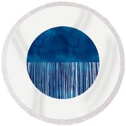 Indigo Moon- Art By Linda Woods Round Beach Towel