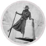 Inle Lake Fisherman Byw Round Beach Towel
