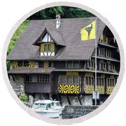 Inn On Lake Lucerne Round Beach Towel