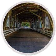 Inside The Belknap Bridge Round Beach Towel