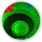 Inside The Green Balloon Round Beach Towel