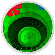 Inside The Green Balloon Round Beach Towel