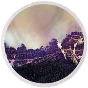 Round Beach Towel featuring the digital art Inside Yellowstone by Mike Braun