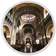 Interior Of The Votive Cathedral, Szeged, Hungary Round Beach Towel