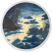 Into The Black Round Beach Towel