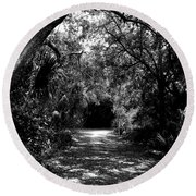 Into The Darkness Round Beach Towel