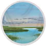 Intracoastal Sunset Round Beach Towel
