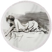 Round Beach Towel featuring the painting Introspection by Steve Henderson