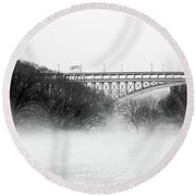 Round Beach Towel featuring the photograph Inwood Hill With Fog by Cole Thompson