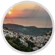 Ioulis Town Sunset, Kea Round Beach Towel
