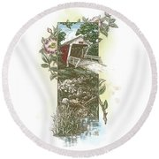 Iowa Covered Bridge Round Beach Towel