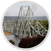Iowa - Mississippi River Bridge Round Beach Towel