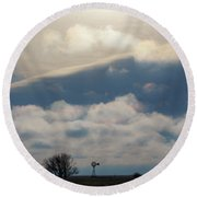 Round Beach Towel featuring the photograph Iridescent Clouds 01 by Rob Graham