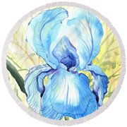 Iris Of The Mist Round Beach Towel