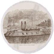 Ironclad River Gunboat Engraving - Union Civil War Round Beach Towel