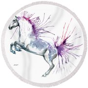 Is  It A Horse Or A Peacock Round Beach Towel