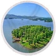 Emerald Island, Smith Mountain Lake, Va. Round Beach Towel
