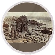 Round Beach Towel featuring the painting Its A Long Long Way To America by Val Byrne