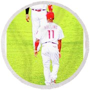 J Roll And The Big Piece, Ryan And Rollins, Phillies Greats Round Beach Towel