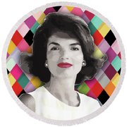 Round Beach Towel featuring the painting Jackie Geometric by Carla B