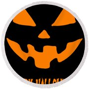 Jackolantern Happy Halloween Pumpkin Round Beach Towel