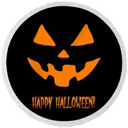 Jackolantern Happy Halloween Pumpkin Round Beach Towel