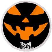Jackolantern Pumpkin Happy Halloween Round Beach Towel