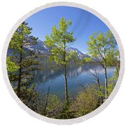 Round Beach Towel featuring the photograph Jackson Lake by Sue Collura