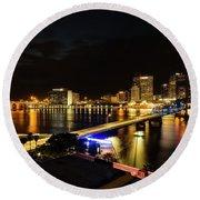 Jacksonville Skyline By Night Round Beach Towel